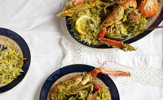 Sumayya Usmani offers her top five tips for cooking an authentic South Asian seafood curry, and shares a stunning recipe for green masala langoustine biryani.