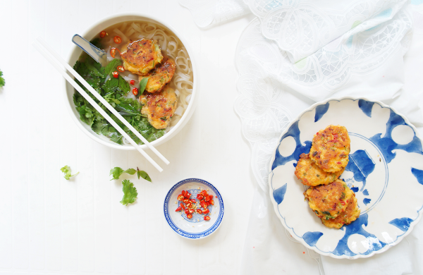 Pho with Thai basil, mint and coriander fishcakes - Fish on