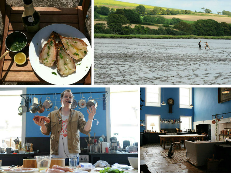 (Bottom right, clockwise) The Big Kitchen, Tom Parker Bowles cooking demonstration, Strawbridge & Strawbridge BBQ, River Lynher Estuary. Photo credit: Michael Bowles