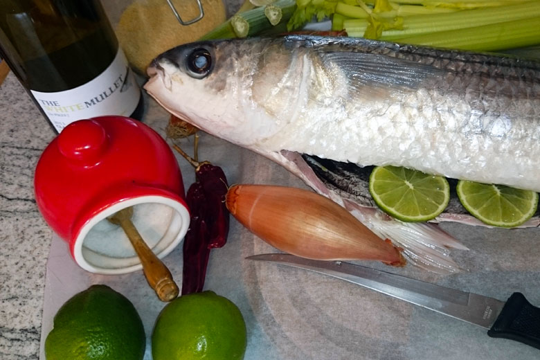 Grey mullet with lime and a chilli anchovy pangrattato for Eating mullet fish
