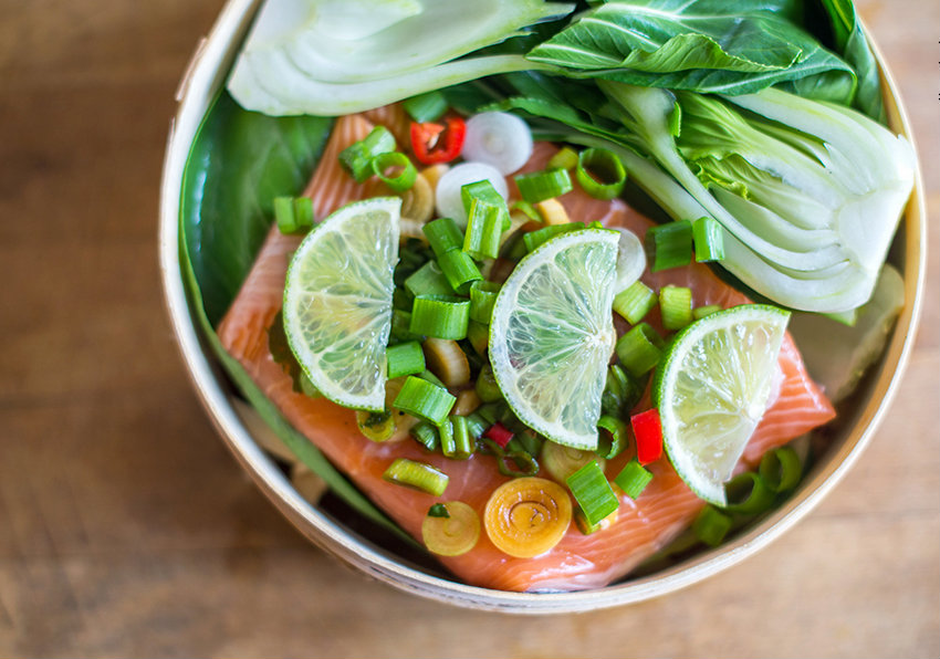 steamed salmon with pak choi fish on friday. Black Bedroom Furniture Sets. Home Design Ideas