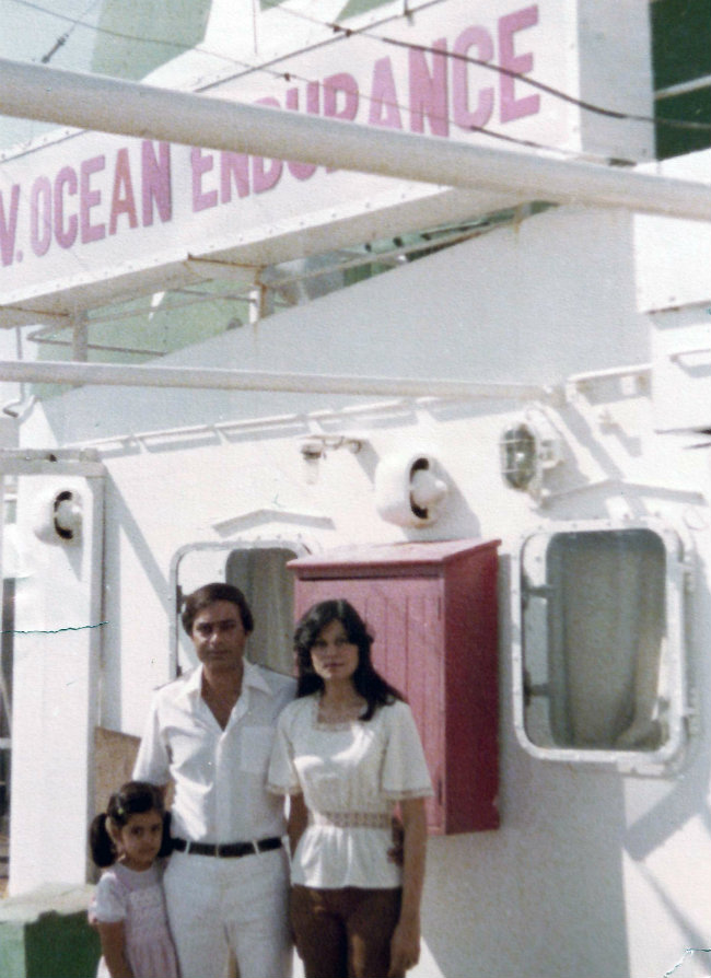 Family portrait: Sumayya with her parents on board The Ocean Endurance