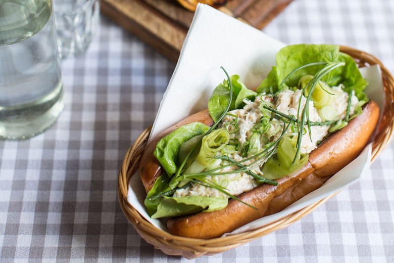 Dorset crab roll with pickled cucumber, by Luke Robinson
