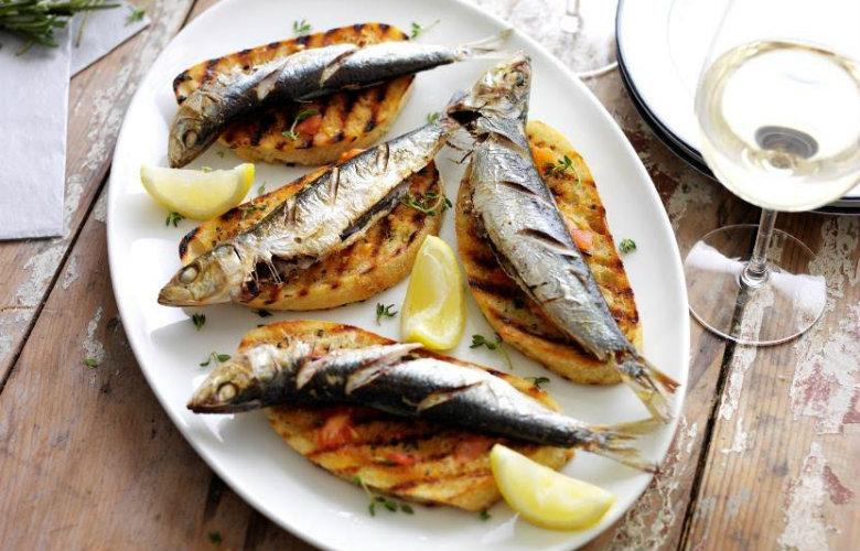 Grilled sardines with rosemary and thyme sandwiches, Ben Tish in Fish on Friday