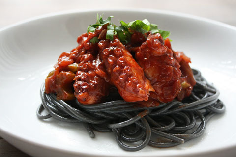 Braised octopus with squid ink spaghetti - Fish on Friday