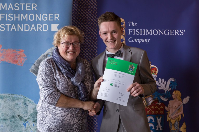 Young FIshonger Award winner Jordan Keig with seafood chef and CEO of the Billingsgate Seafood School CJ Jackson